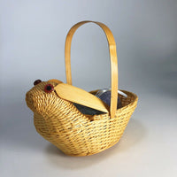 Lot of vintage Bunny wicker basket and 2 egg ornaments