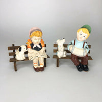 "Darling little boy and girl on benches with their pets  4"" x 4"" each"