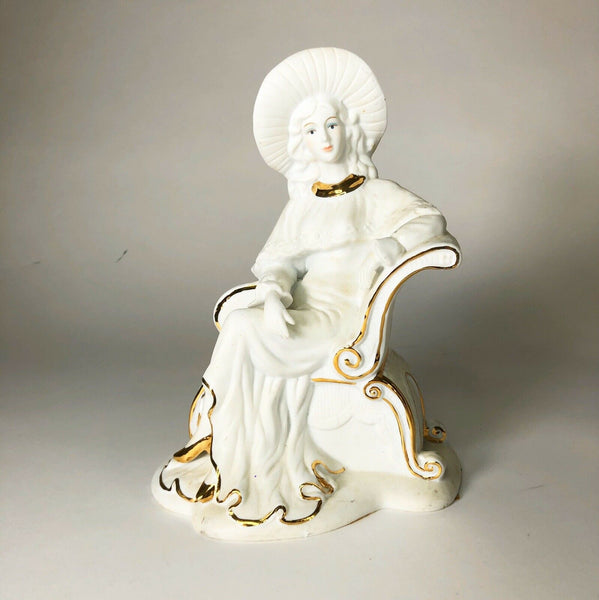 "Vintage Ceramic Woman White With Gold Accents 10"" X 7"" X 5"""