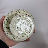 Mid-Century Speckled Pottery Pedestal Dish
