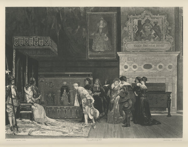 "1800s ""Approach the Queen"" Lithograph Reprint"