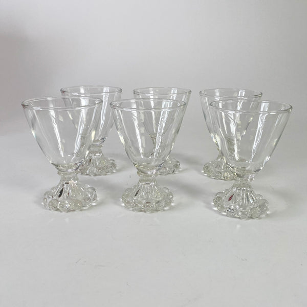 Lot of 6 Vintage Bubble Boopie Sherry Glasses