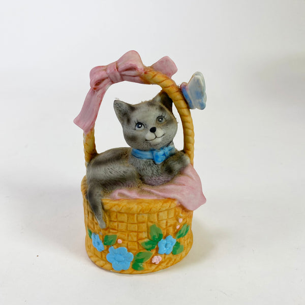 Vintage Bisque Kitten in Basket Bell
