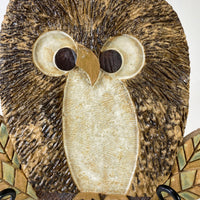 Folk Art Ceramic Owl Wall Sculpture