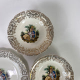 Vintage Sabin China Colonial Victorian Gold Filigree Edge Warranted 22K 6 Pieces