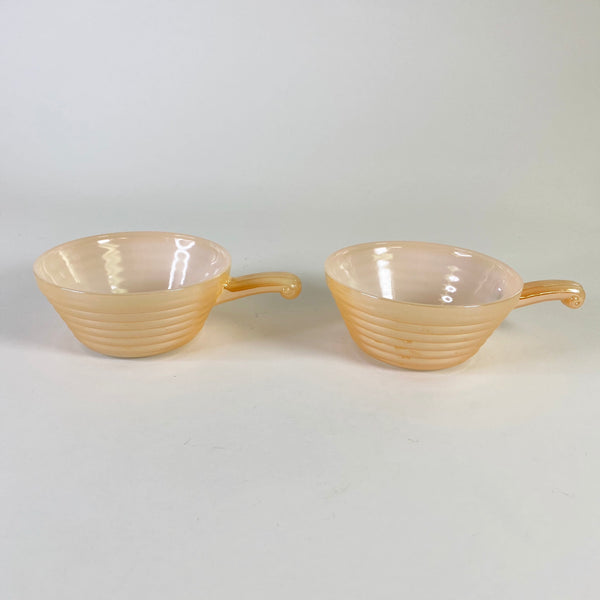 Set of 2 Fire King - Peach Luster - Beehive Handled Chili Or Soup Bowls