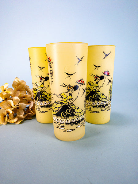 Lot Of 3 Vtg. Libbey Yellow Satin Frosted Ice Tea Glass Tumbler Southern Belle