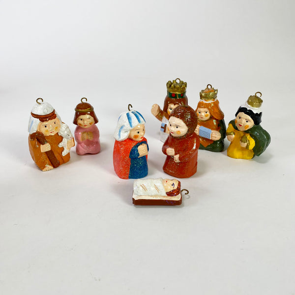 Vintage Wooden Ornament Nativity Scene Set