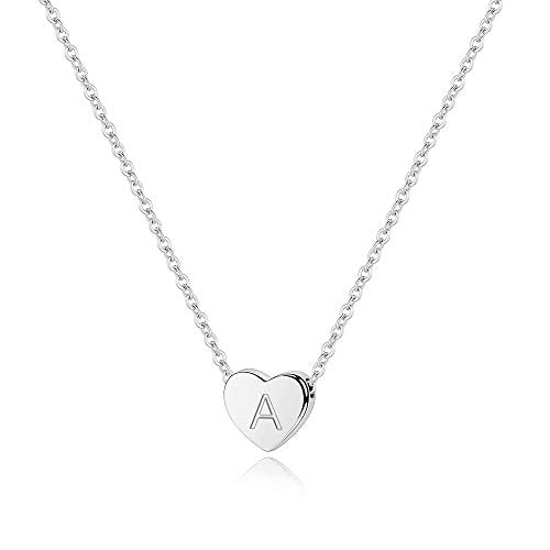 Tiny Heart Initial A Necklace - 925 Sterling Silver Heart A Initial Necklaces for Teen Girls, Initial Necklaces for Girls Jewelry Little Girls Kids Jewelry for Girls Initial Jewelry for Teen Girls