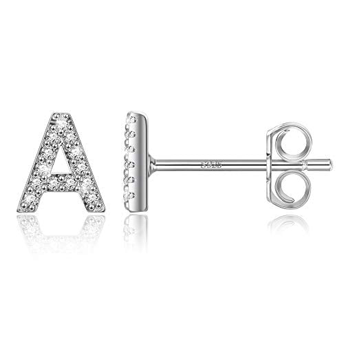 Sterling Silver Initial Earrings for Girls - Girls Earrings Kids Earrings 925 Sterling Silver Earrings for Girls Initial Earrings for Girls Kids Baby Toddler Teen Girls Little Girls Initial Earrings A
