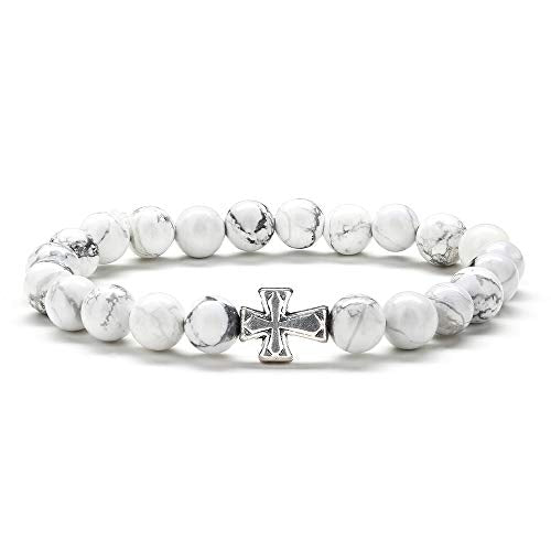 Cross Bracelet Gifts for Men Women - 8mm Natural White Howlite Stone Mens Anxiety Bracelet, Yoga Bead Bracelets Stress Relief Elastic Bracelet Religious Cross Bracelet for Women Gifts Christian Gifts