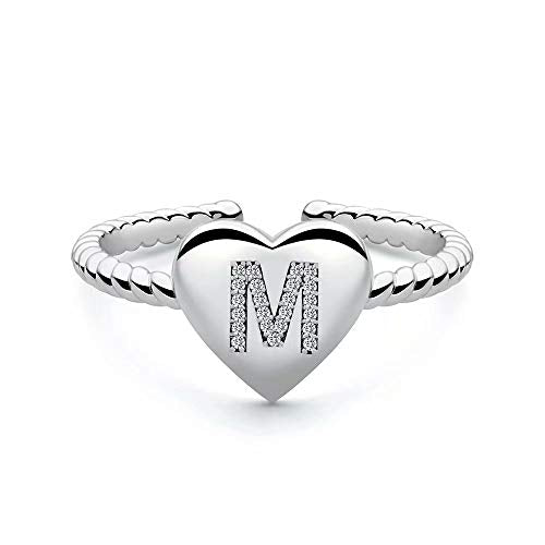 M MOOHAM Silver Kids Rings for Girls, Silver Plated Heart Capital Letter Initial Rings for Women Teen Girls, Open Adjustable Dainty Initial Ring Alphabet Personalized Finger Rings for Girls (M)
