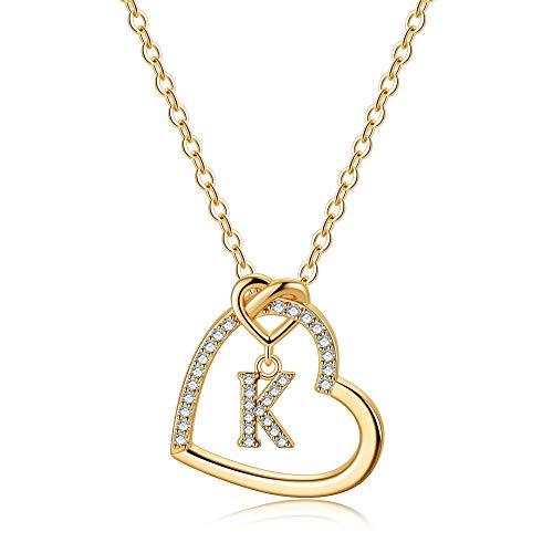 Gold Initial Necklaces for Teen Girls, CZ Heart Pendant Initial K Necklaces for Teen Girls Women, Dainty Letter Necklace for Women Girls Jewelry Cute Heart Necklace Jewelry for Girls Gifts for Her