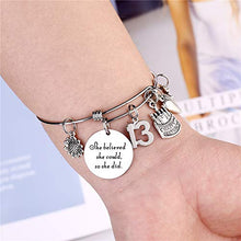 Load image into Gallery viewer, M MOOHAM 13 Year Old Girl Birthday Gifts, Stainless Steel Expandable Bangle Birthday Gifts for 13 Years Old Girls Charm Bracelets Best Birthday Gifts for 13 Years Old Girls for 13 Year Old Girls