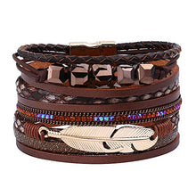 Load image into Gallery viewer, Wrap Leather Bracelets for Women - Multi Layered Genuine Feather Wrap Leather Boho Bracelets for Women Girls, Handmade Magnetic Clasp Stackable Leather Cuff Bracelets Boho Jewelry for Women Girls
