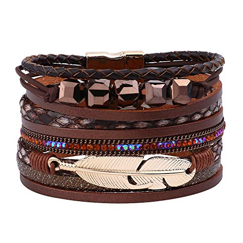 Wrap Leather Bracelets for Women - Multi Layered Genuine Feather Wrap Leather Boho Bracelets for Women Girls, Handmade Magnetic Clasp Stackable Leather Cuff Bracelets Boho Jewelry for Women Girls