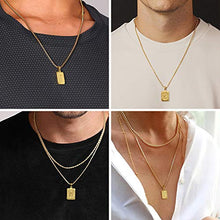 Load image into Gallery viewer, Letter Initial Necklaces for Men Women, Monogram Capital Letter Pendant Necklace for Men Jewelry 18K Gold Plated A Necklace for Women Men Chunky Stainless Steel Gold Box Chain Necklace for Men 22 Inch