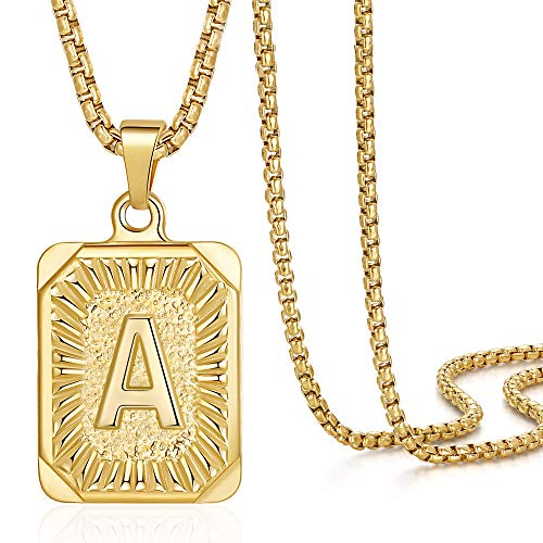 Letter Initial Necklaces for Men Women, Monogram Capital Letter Pendant Necklace for Men Jewelry 18K Gold Plated A Necklace for Women Men Chunky Stainless Steel Gold Box Chain Necklace for Men 22 Inch