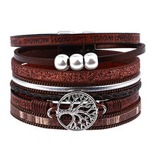 Load image into Gallery viewer, Leather Bracelets Boho Jewelry for Women - Genuine Wrap Boho Bracelets for Women Girls, Handmade Magnetic Clasp Tree of Life Leather Cuff Bracelets Boho Jewelry for Mom Daughter Grandma Stepmom Wife