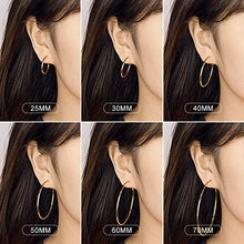 Load image into Gallery viewer, Dainty Gold Hoop Earrings for Women, Stainless Steel 14K Gold Rose Gold Plated Silver Hoop Earrings for Sensitive Ear Hypoallergenic Earrings Set 25-40-60mm