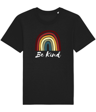 Load image into Gallery viewer, Black unisex vegan t-shirt with a rainbow and the words be kind