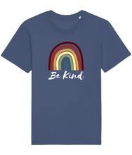 Load image into Gallery viewer, Blue unisex vegan t-shirt with a rainbow and the words be kind