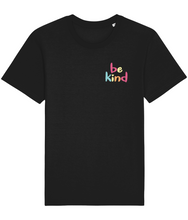 Load image into Gallery viewer, Black unisex t-shirt with the words be kind in rainbow print