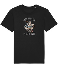Load image into Gallery viewer, Black unisex vegan shirt with a picture of an octopus and the words keep our sea plastic free.