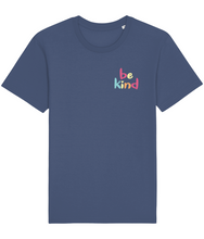 Load image into Gallery viewer, Blue unisex t-shirt with the words be kind in rainbow print