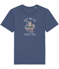 Load image into Gallery viewer, Blue unisex vegan shirt with a picture of an octopus and the words keep our sea plastic free.