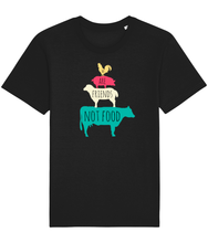 Load image into Gallery viewer, Black vegan shirt with farm animals and the words we are friends not food