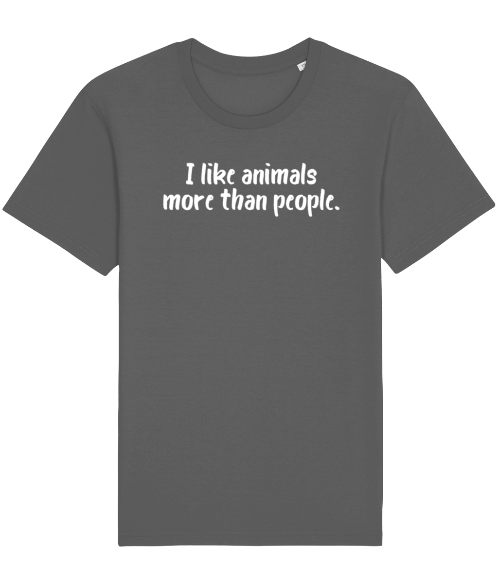 Grey vegan t-shirt with the words I like animals more than people.