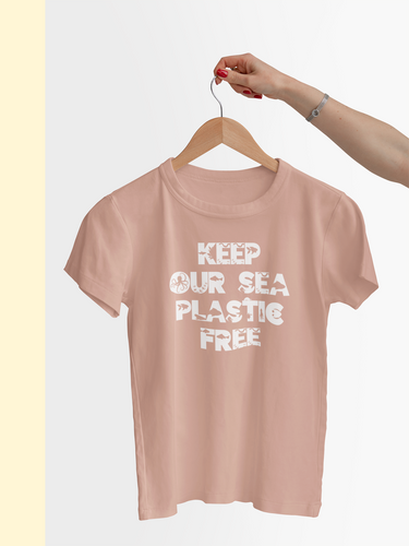 Pink organic shirt with the words keep our sea plastic free in a font with sea animals
