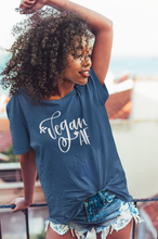 Load image into Gallery viewer, Woman wearing a blue vegan af t-shirt
