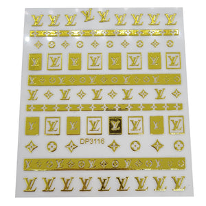 Gold Louis Vuitton Nail Stickers
