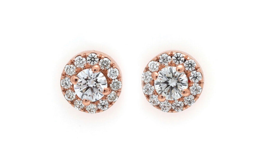 Halo studs pink gold