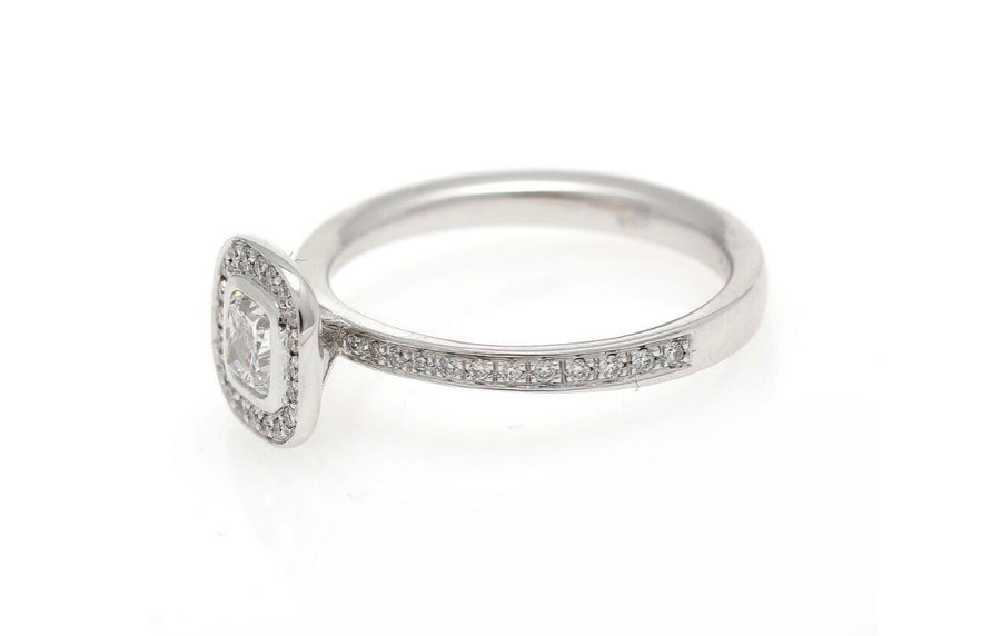 18K cushion engagement ring white gold
