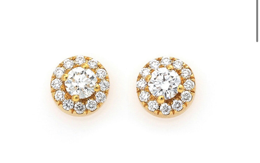 Halo studs yellow gold