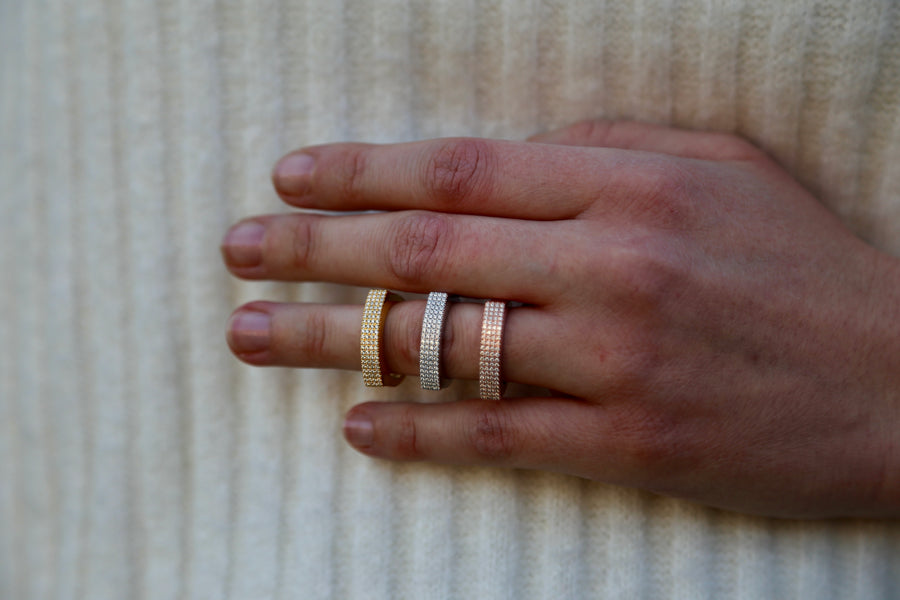 4 row pavé ring yellow gold
