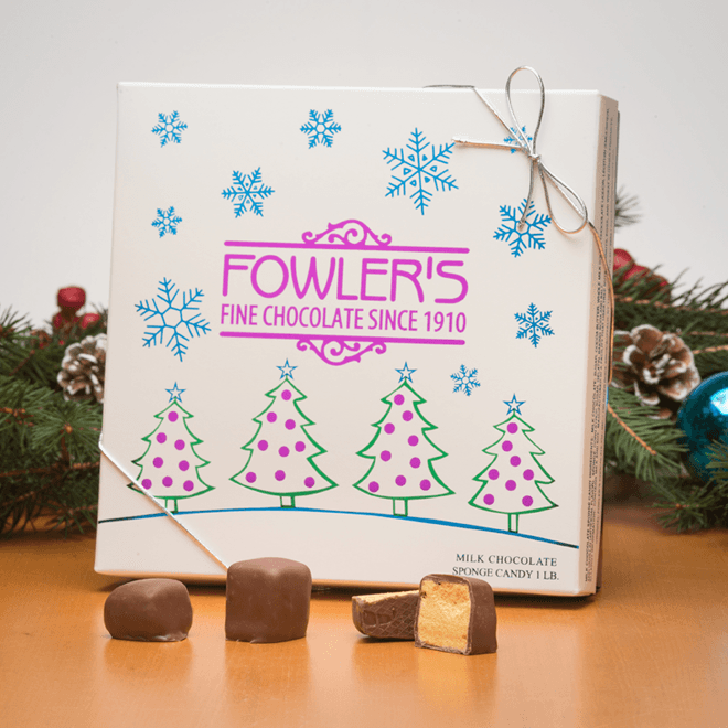 Our famous sponge candy in a lovely holiday themed box.