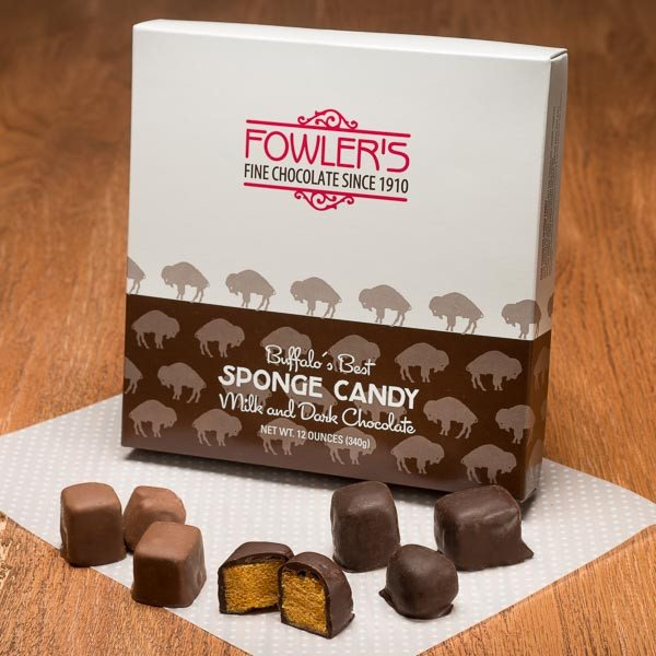 Our famous sponge candy in milk & dark chocolate in one box.
