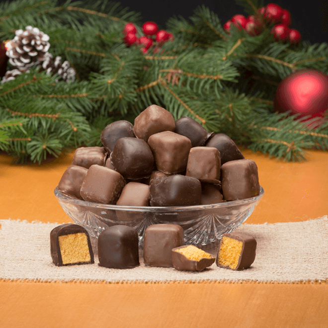 Buffalo's Best Sponge Candy with a Holiday Lid by Fowler's Chocolates