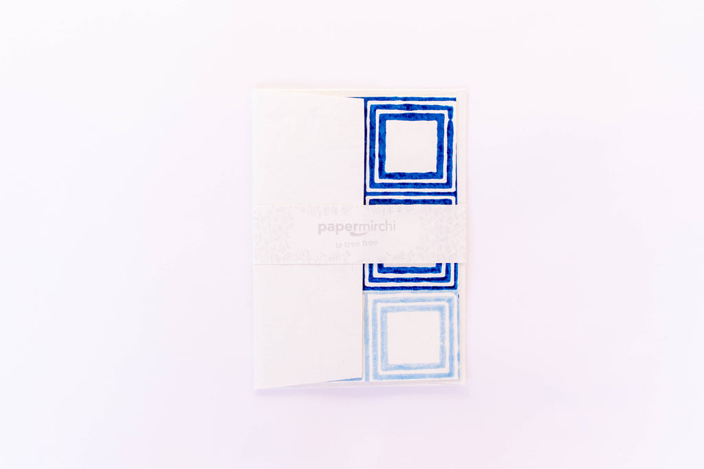 Hand Block Printed Greeting Card - Squared Classic Blue