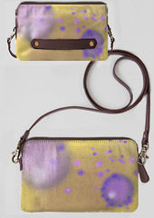 Clutch bag in purple, lavender and yellow ochre