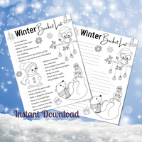 Winter Bucket List Coloring Page