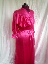 "Load image into Gallery viewer, ""Lana"" Dressing Gown in Flannel Back Satin Ruffled Robe in Pink, Black, Purple, or Red"