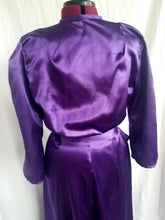 "Load image into Gallery viewer, ""Rosie"" Robe in Flannel Back Satin 1940s style Dressing Gown in Purple, Black, Pink, or Red"