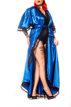 "Load image into Gallery viewer, ""Bella Rose"" Robe in Royal Blue Vintage Style Dressing Gown with Lace Trim"