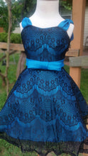 Load image into Gallery viewer, Sale Kathleen Girls Dress / Azul Dress / Lace and Taffeta Dress / Teal Dress / 2t / Petticoat / 000131