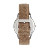 Elevon Turbine Leather-Band Watch - Silver/Tan - ELE116-3